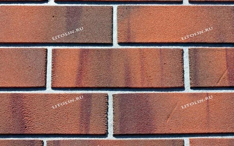 Гибкий клинкер оранжевый терракот с красным и чёрно-коричневым градиентом