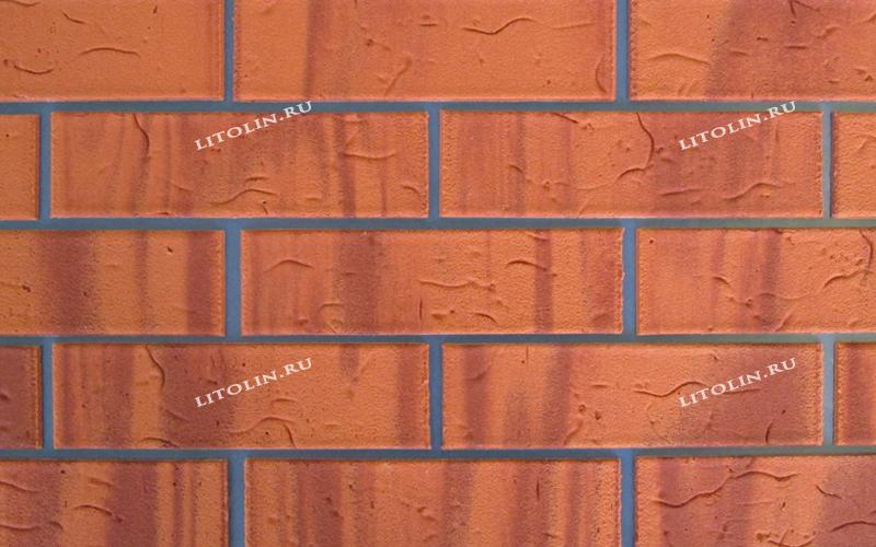 Гибкий клинкер Тёмно-оранжевый с красными протяжками и текстурой