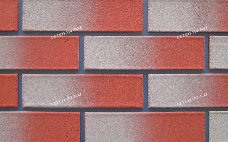 Клинкерные термопанели Тёмно-красный фундамент с серым градиентом