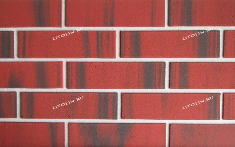 Клинкерные термопанели Красный с мягкими чёрными протяжками